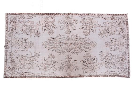 5'7''x9'3''Faded Beige Color Turkish Wool Rug,Anatolian Ottoman Handmade Area Rug,Decorative Rug,Nomadic Rug,Modern Art Rug,3442