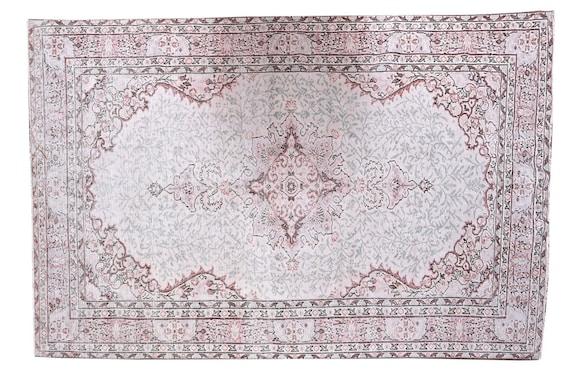 5'9''x9'9''Vintage Rug,Pastel Beige Color Turkish Area Rug,Bedroom Rug,Neutral Rug,Living Room Rug,Boho Rug,Decorative Rug,Faded Rug,3179