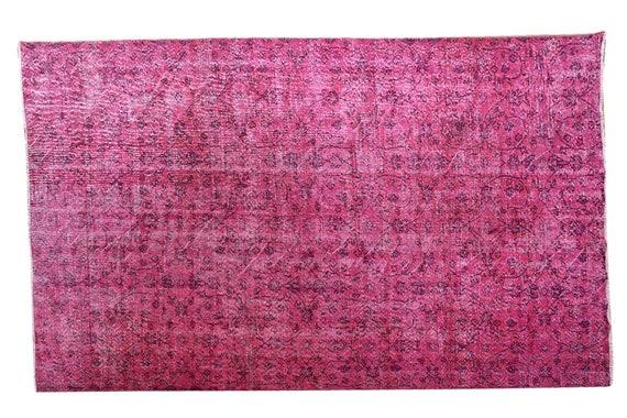 6'1''x9'4''Faded Red-Black Color Turkish Wool Rug,Anatolian Ottoman Handmade Area Rug,Decorative Rug,Nomadic Rug,Modern Art Rug,3215