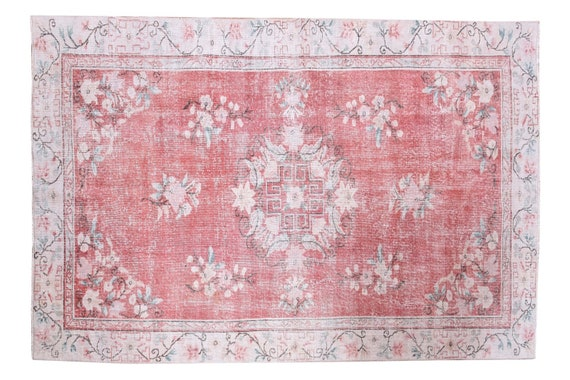 5'1''x8'5''Faded Red-Beige Color Turkish Wool Rug,Anatolian Ottoman Handmade Area Rug,Decorative Rug,Nomadic Rug,Modern Art Rug,3454