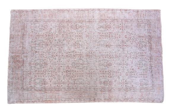 6'4''x9'6''Faded Beige Color Turkish Wool Rug,Anatolian Ottoman Handmade Area Rug,Decorative Rug,Nomadic Rug,Modern Art Rug,3460