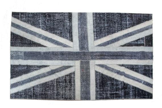 6'5''x9'8''England Flag Patchwork Black-Gray-Beige Color Rug Vintage Area Rug made of Vintage Faded Turkish Rugs ,collage Unique Area Rug,54