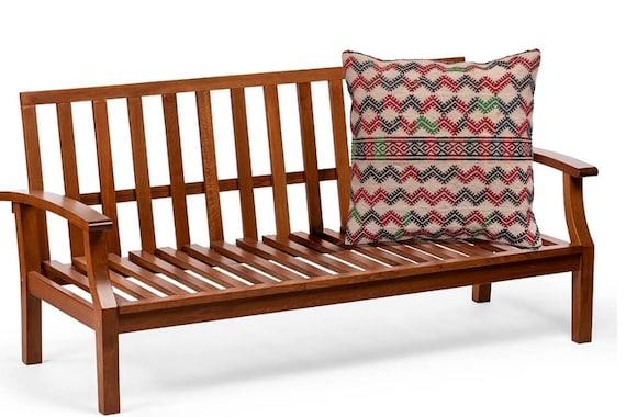 "20.8'' x 21.6""Turkish Anatolian Geometric Pillow, Beige Pillow, Striped Wool Pillow, Oushak Red Pillow, Kilim Rug Pillow, Boho Black Pillow"