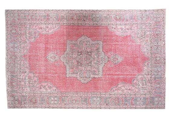 6'7''x10'6''Vintage Rug,Pastel Red Color Turkish Area Rug,Bedroom Rug,Neutral Rug,Living Room Rug,Boho Rug,Decorative Rug,Faded Rug,3195