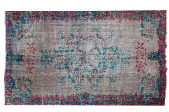 "7'05"" X 9'3''Gray-Turquoise Color Vintage Turkish Wool Rug,Anatolian Handmade Area Rug,Decorative Rug,Nomadic Rug,An Artistic Work Rug,3090"