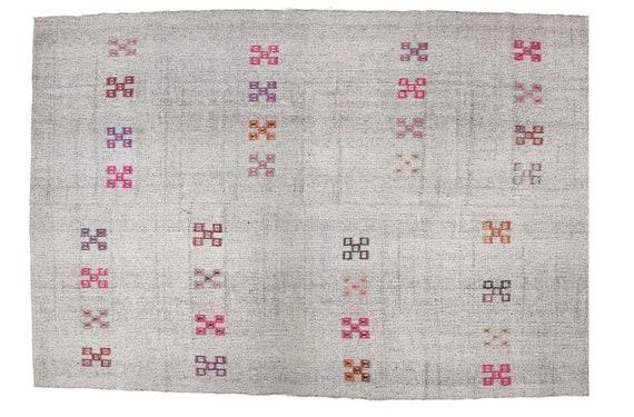 Turkish Rug,7.2x10.3ft,Patchwork Rug,VintageRug,Anatolia Rug,HandWoven Rug,Nomadic Rug,Tribal Rug Area,Rug Oriental Rug Boho CarpetRug Kilim