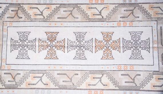 5'1'' x 8'3'' Beige-Orange  Color Vintage Turkish Wool Rug,Anatolian Handmade Area Rug,Home Decor,Decorative Rug ,Nomadic Rug,Modern Rug