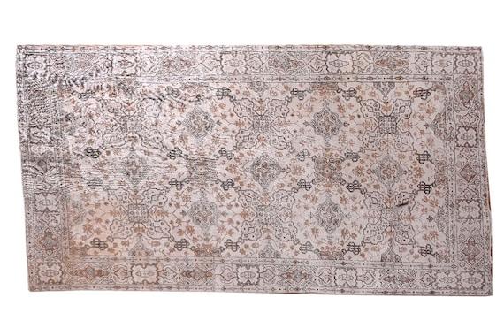 6'7''x10'8''Faded Beige-Brown Color Turkish Wool Rug,Anatolian Ottoman Handmade Area Rug,Decorative Rug,Nomadic Rug,Modern Art Rug,3227