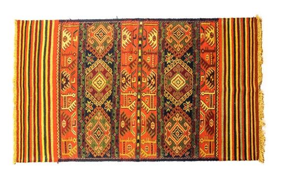 3'4''x6'5''Brick-Multi Color Vintage Turkish Wool Rug,Anatolian Handmade Area Rug,Animal Motifs Design Rug, Sumak Rug,Nomadic Rug,Custom Rug