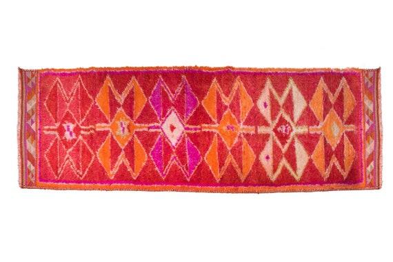 3'3'' x 12'6'' Red-Orange Color Vintage Turkish Wool Rug,Anatolian Handmade Area Rug,Home Decor,Decorative Rug,Black Runner Rug,Nomadic Rug,