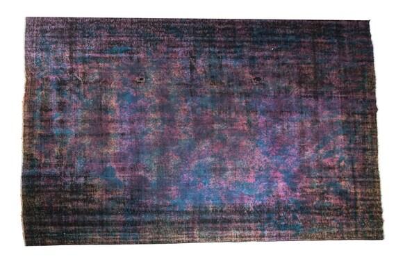 8'2''x10'4''Dark-Blue Color Artistic Rug,Anatolian Ottoman Handmade Area Rug,Home Decor,Decorative Rug,Nomadic Rug,Modern Art Rug