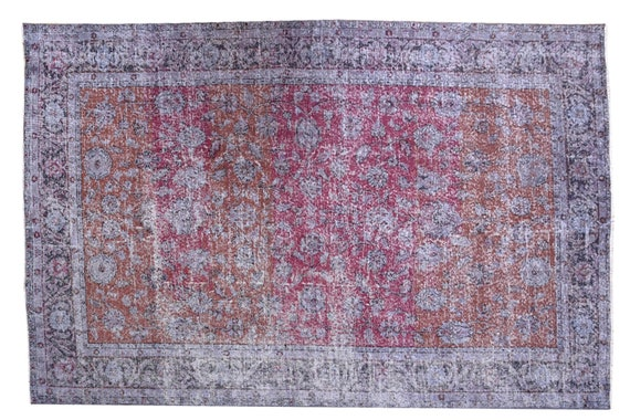 6'4''x9'5''Faded Red-Gray Color Turkish Wool Rug,Anatolian Ottoman Handmade Area Rug,Decorative Rug,Nomadic Rug,Modern Art Rug,3406