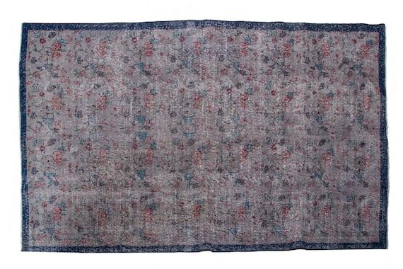 "5'7""X9'1'' Faded Gray Color Vintage Turkish Wool Rug,Anatolian Handmade Area Rug,Decorative Rug,Nomadic Rug,An Artistic Work Rug,3106"