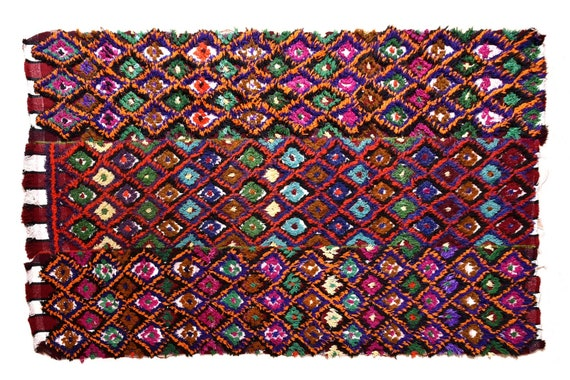 Very Diffrent Unique Tulu Rug,4'6''x6'4''Colorful Color Shaggy Rug,Bohemian Rustic Rug,Handmade area rug,Faded Rug,3257