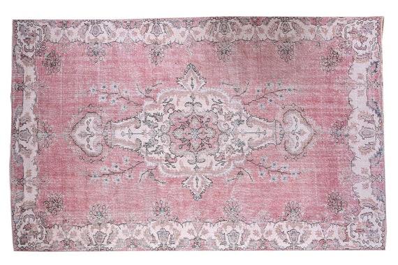 6'3''x9'9''Faded Beige-Red Color Turkish Wool Rug,Anatolian Ottoman Handmade Area Rug,Decorative Rug,Nomadic Rug,Modern Art Rug,3185