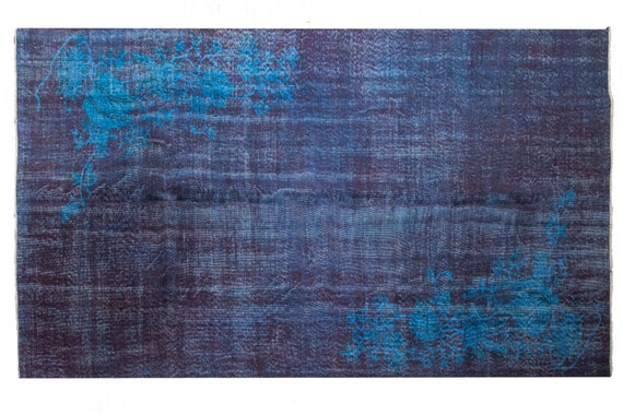 """5'9""""X10'0''Mid Country  Faded Plum-Blue Color Vintage Turkish Wool Rug,Mid Country Rug,Anatolian Handmade Area Rug,An Artistic Work Rug,3093"""