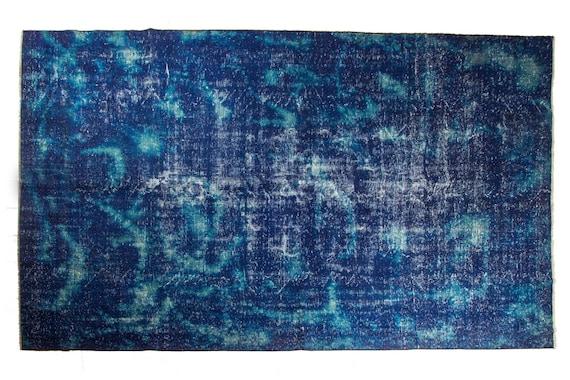 7'7''x10'3''Artistic Blue Color Vintage Turkish Wool Rug,Anatolian Handmade Area Rug,Decorative Rug,Nomadic Rug,Modern Custom Painted Rug