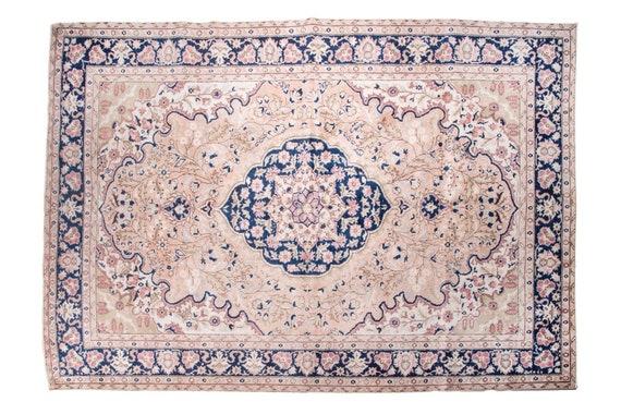 6'7''x8'8''Natural-Blue Color Turkish Wool Rug,Anatolian Ottoman Handmade Area Rug,Decorative Rug,Nomadic Rug,Modern Art Rug,1253