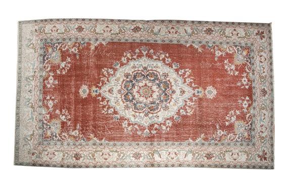 5'4''x8'8''Red-Beige Color Vintage Turkish Wool Rug,Anatolian Ottoman Handmade Area Rug,Home Decor,Decorative Rug,Nomadic Rug,Modern  Rug