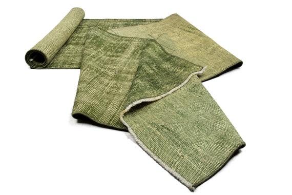 2'6'' x 11'1'' Green Color Vintage Turkish Wool Rug,Anatolian Handmade Area Rug,Home Decor,Decorative Rug,Green Runner Rug,Nomadic Rug,
