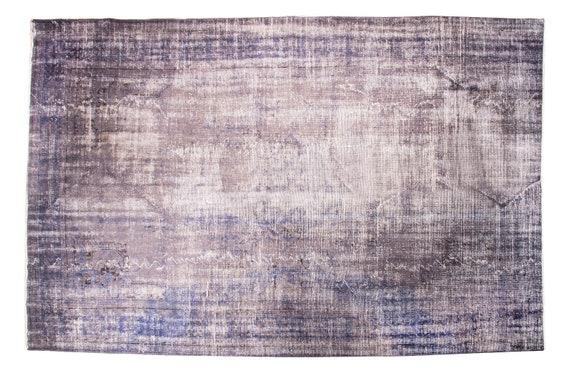 7'3''x10'9''Blue-Grey Color Vintage Turkish Wool Rug,Anatolian Ottoman Handmade Area Rug,HomeDecor,Decorative Rug,Nomadic Rug,Modern Rug,395