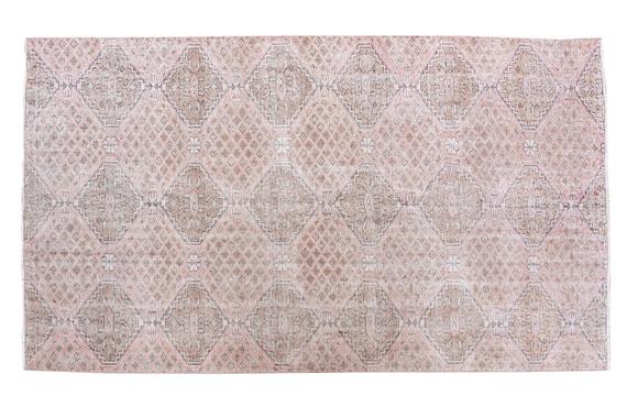 5'01''x8'03''Faded Candy Pink Color Turkish Wool Rug,Anatolian Ottoman Handmade Area Rug,Decorative Rug,Nomadic Rug,Modern Art Rug,3458