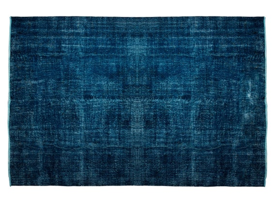 7'05'' x 10'4'' DarkBlue Color Vintage Turkish Wool Rug,Anatolian Handmade Area Rug,Home Decor,Decorative Rug,Dark Blue Rug,Nomadic Rug