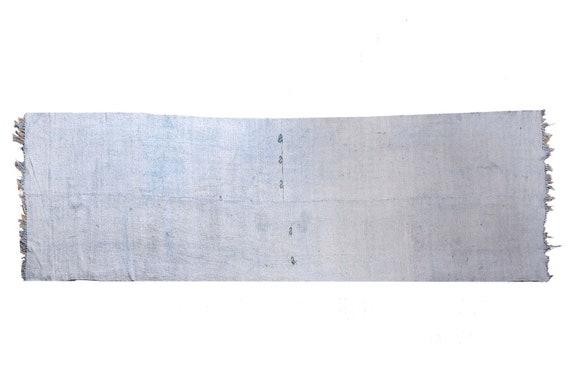 3'9''x13'5''Vintage,Natural Blue Color Turkish Area Hemp Rug, Bedroom Rug, Neutral Rug,Living Room Rug,Boho Rug,Antique Rug,Faded Rug,3240