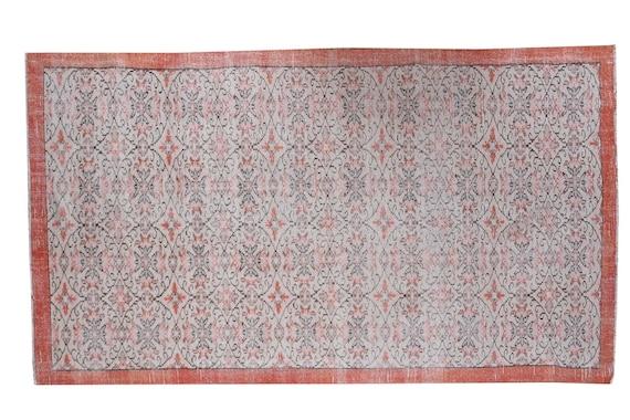 5'6''x9'4''Faded Beige-Brick Color Turkish Wool Rug,Anatolian Ottoman Handmade Area Rug,Decorative Rug,Nomadic Rug,Modern Art Rug,3176