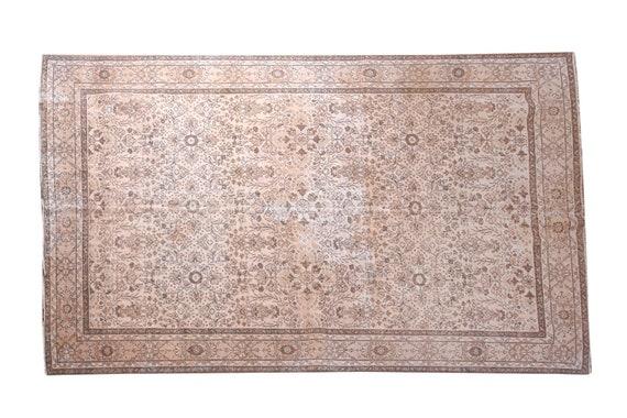 6'6''x9'8''Faded Beige-Brown Color Turkish Wool Rug,Anatolian Ottoman Handmade Area Rug,Decorative Rug,Nomadic Rug,Modern Art Rug,3228