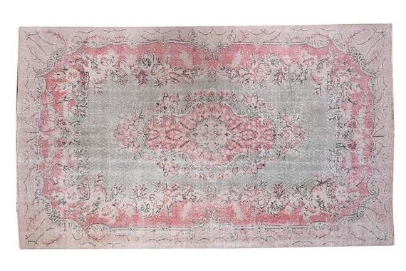 """6'3""""X9'7''Vintage Pastel Red-Green Color Turkish Area Rug,Bedroom Rug,Neutral Rug,Living Room Rug,Boho Rug,Decorative Rug,Faded Rug,3197"""