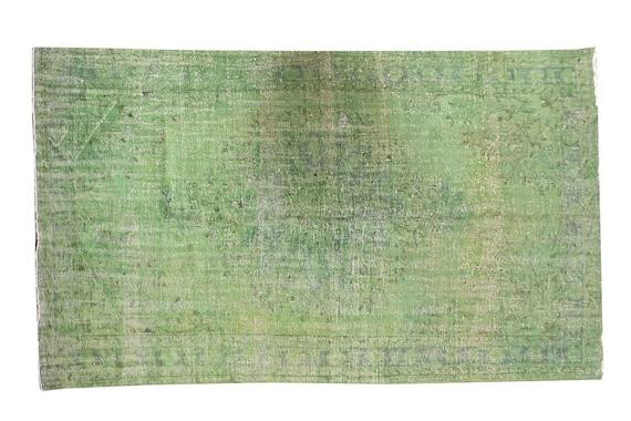 6'5''x10'8''Faded Green Color Turkish Wool Rug,Anatolian Ottoman Handmade Area Rug,Decorative Rug,Nomadic Rug,Modern Art Rug,3440