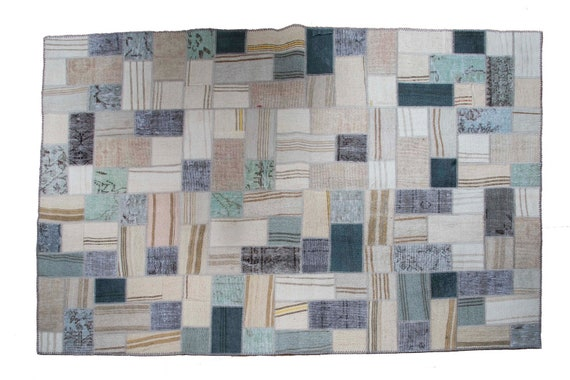 5'2''x7'5'' Patchwork Rug ,Pastel Natural  Color Rug Vintage Area Rug made of Vintage Faded Turkish Rugs , collage Unique Area Rug,11xx