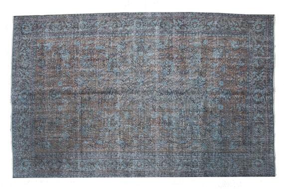 "5'7"" X 8'8'' Faded Red- Blue Color Vintage Turkish Wool Rug,Anatolian Handmade Area Rug,Decorative Rug,Nomadic Rug,An Artistic Work Rug,3103"