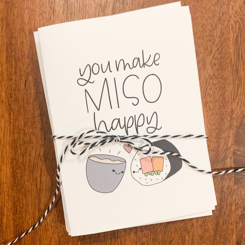 Thinking of You Cards Positive Cards Card Set for Friends and Family Asian Food Punny 4 Pack of Recycled Paper Greeting Cards