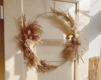 Dry flower ring ø 40 cm l Pampas l Boho l Door wreath