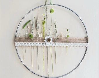 Dry flower wreath I Metal ring I Dried Flowers Hoop I ø 30 cm I DIY-Set