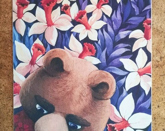 Bear in a field of daffodils Print in A4 and A5 format