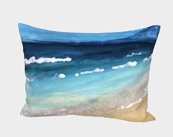 Ocean Art Printed Cotton Sateen Bed Pillow Sham, Blue Aqua Gold Coastal Bedding Pillow Case, Beach Home Bedding