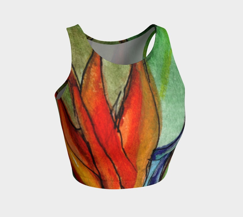Orange Green Floral Art Printed Yoga Top Bird of Paradise Tropical Athletic Crop Top Tropical Workout Top