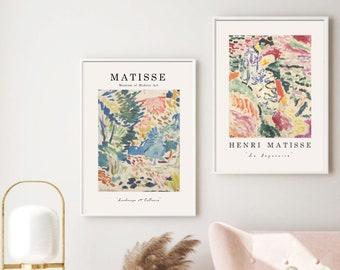 Matisse print set of 2, High Quality Paper,Henri Matisse art Exhibition Poster Set of 2,Gallery Wall Set Matisse Artwork,Pink Matisse S0050