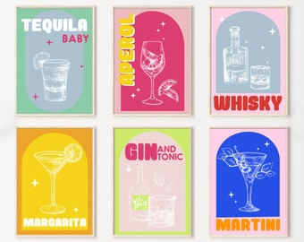 Retro Cocktail Print Set of 6,Colourful Gallery Wall Set Poster,Retro Bar Poster Set,Bar Sign,Trendy Living Room Wall Deco,Aperol PrintS0203