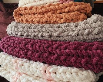 Handmade Chunky Knit Blanket   Custom  