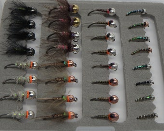 70 Mixed Selection Perdigon Nymphs Euro nymphing Trout and Grayling Flies Barbless Nymphs Competition Nymphs