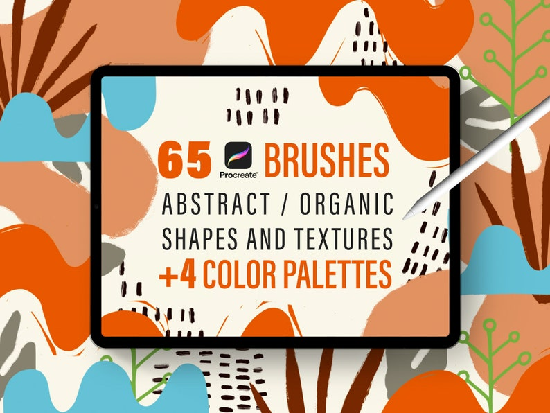 Procreate Stamp Brushes: 65 Abstract Organic Shapes 55 Stamp image 0