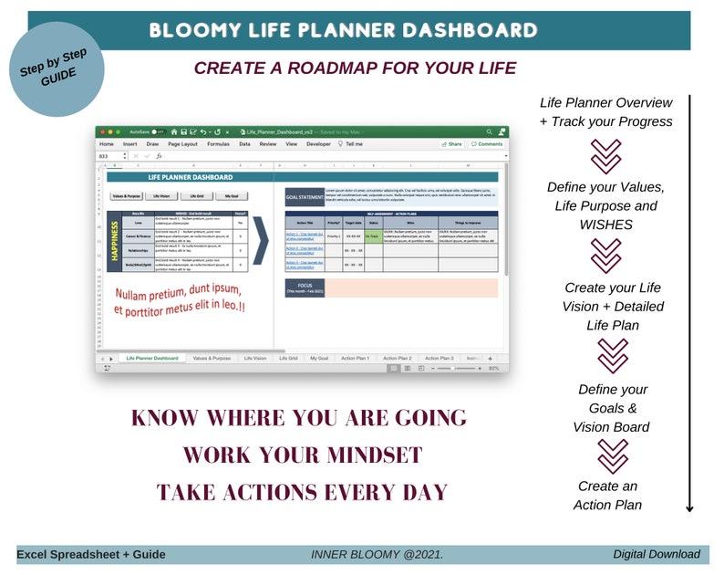 Life Planner Dashboard Goals Tracker Excel Spreadsheet image 1