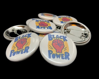 Vintage Black Power Image Pinback Button