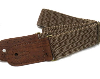 Brown Retro Cotton Tweed Vegan Guitar and Bass Adjustable Strap with Cork Ends