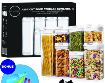 HOMESTO Airtight Food Storage Container Set - With Improved Lids - Includes Labels & Marker and 4PC Measuring Spoon Set