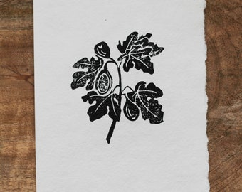 Linocut card with fig branch on handmade paper
